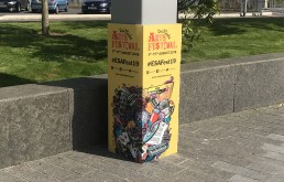 Eastside arts Branding, bollard wrap